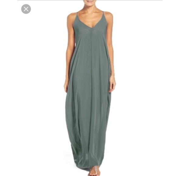 0ef56c23eae ELAN Cover Up Maxi Dress Olive Green Size M